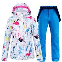 Costumes Jacket Snowboarding Pants-Set Ski-Suit Skiing Waterproof Winter Women New Warm