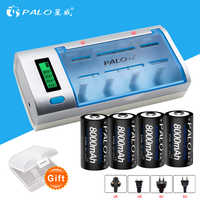 PALO LCD display battery charger for AA/AAA/SC/C/D/9V battery + 4 pcs nimh 8000 mah rechargeable D battery