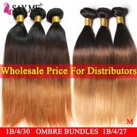 Wholesale Bulk Price For 5/6/8 Bundles Ombre Brazilian Straight Hair Weave Bundles Remy Human Hair Extensions For Distributors