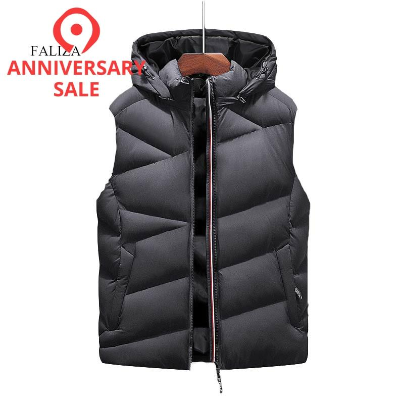 FALIZA New Winter Mens Vest Sleeveless Jackets Men's Warm Down Vest Homme Casual Thick Waistcoat Chalecos Para Hombre 8XL MJ119