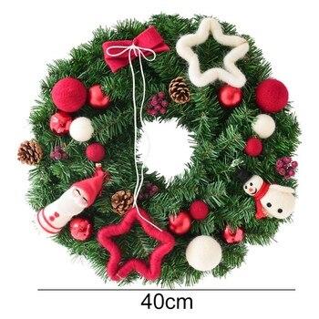 40 CM Doll Christmas Wreath PVC Marerial Wicker Felt Ball Door Hanging GarlandWindow Christmas Decorations