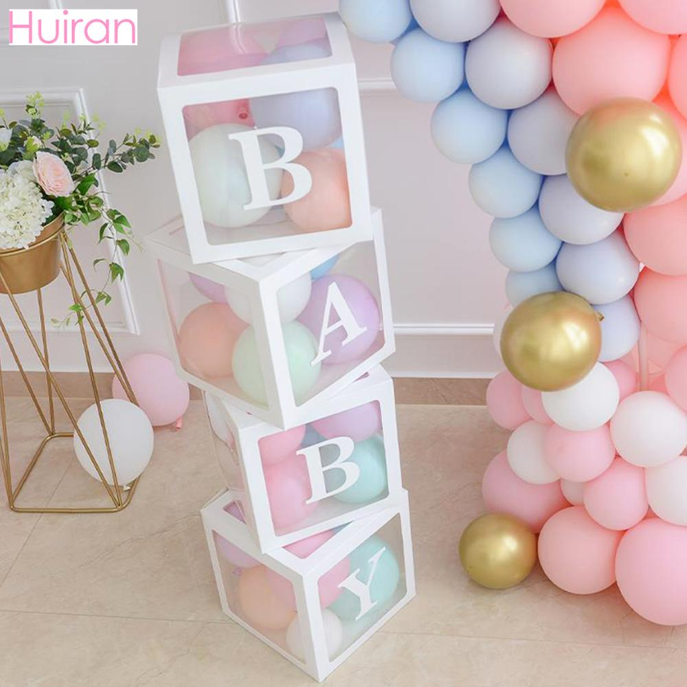 Transparent Name Box DIY Letter Balloons First 1st Birthday Balloons Balony 1 2 Years Baby Happy Birthday Party Decor Kids Balon
