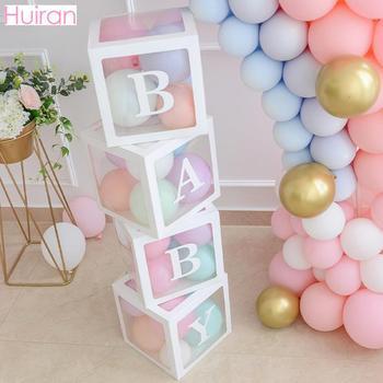 Caixa de nome transparente diy carta balões primeiro primeiro aniversário balões balony 1 2 anos bebê feliz aniversário festa decoração crianças balon