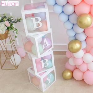 Transparent Name Box DIY Letter Balloons First 1st Birthday Balloons Balony 1 2 Years Baby Happy Birthday Party Decor Kids Balon(China)