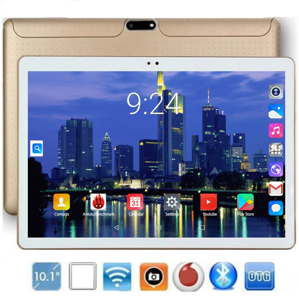 10.1 Inch Tablet Pc MTK8752 Octa Core Android 8.0 Tablets 6GB RAM 128GB ROM 1280x800 IPS Display Dual SIM 4G Phone Call Tablet