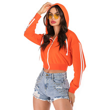 цена на Zip-up Short Batwing Women Hoodies Sweatshirt  Fall 2019 Orange Striped Jogging Femme Hoodie  Woman Hoody sweetshirt