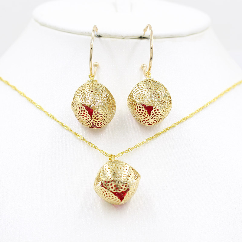 585 Gold Earring Necklace 2 Pieces Set African Bride Rose Gold Necklace Earrings Ring Wedding Party Festival Pendant Earrings Cr Jewelry Sets Aliexpress