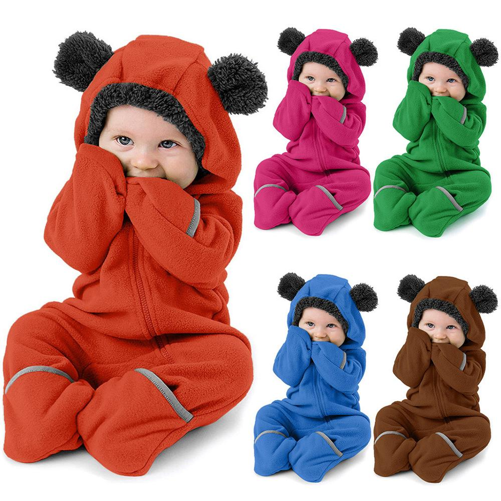 Baby Winter Romper Cotton Thick Warm Hooded Cartoon Solid Long Sleeve Rabbit Ear