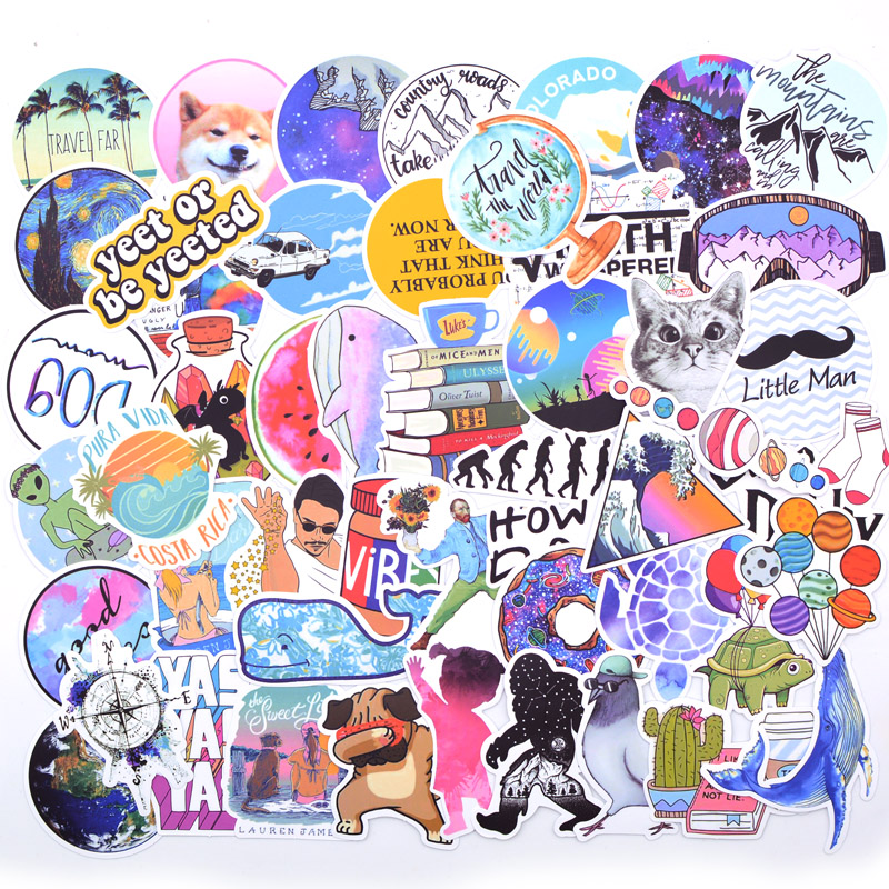 Image 2 - 20 Style Vsco Stickers Things 50PCS Pack Cool Pink Girl Stickers For On The Laptop Fridge Phone Skateboard Suitcase Sticker-in Stickers from Toys & Hobbies