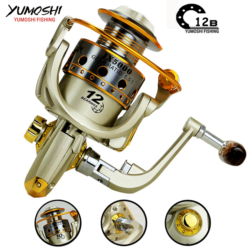 Spinning fishing reel Metal Spool 12BB 5.5:1 Left/Right Interchangeable Handle Fishing Wheel Coil Tackle