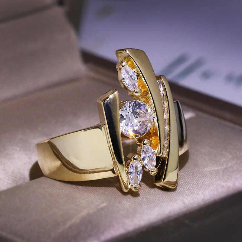 หญิงหรูหรา Geometric Zircon แหวน Vintage สีเหลืองทองรักแหวนนิ้วมือแฟชั่นหมั้นแหวน