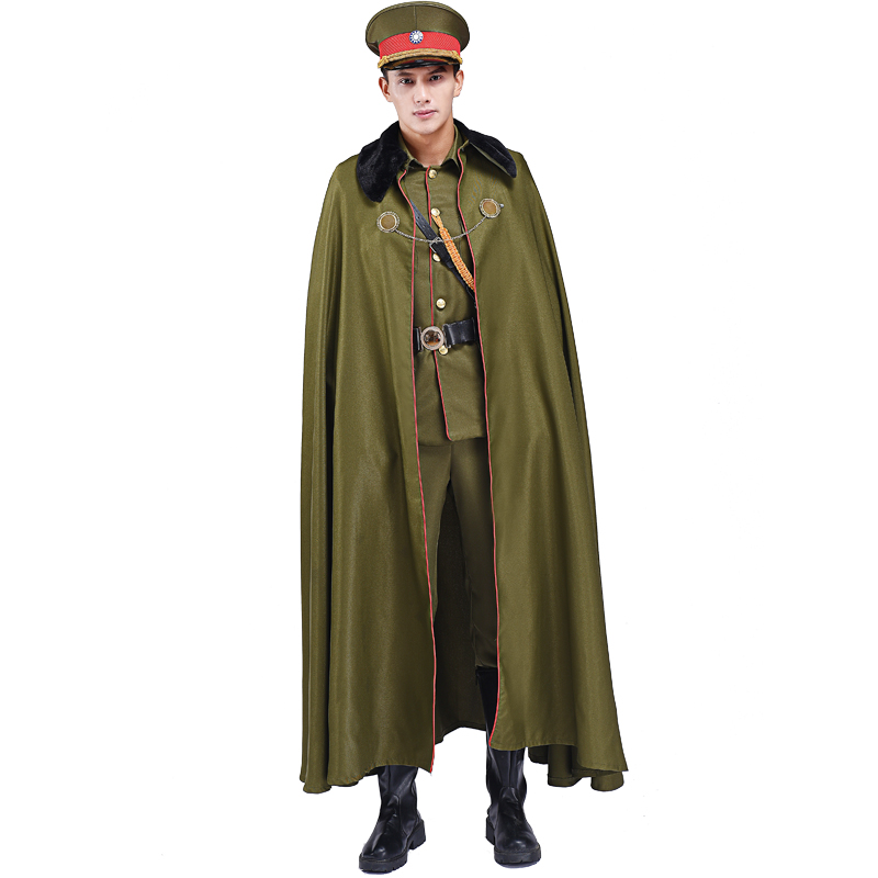 green warlord suit for men Ancient chinese  Military Uniform Film TV Stage Costume Cosplay clothing studio photography