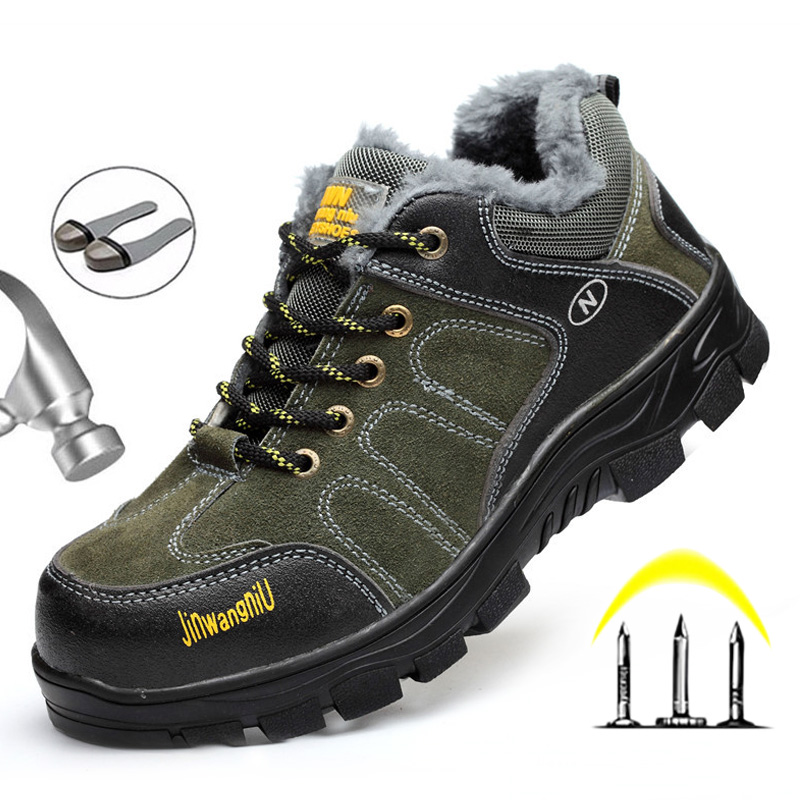 Men'S Winter Boots Fur Safety Boots Shoes Puncture Proof Anti-Slip Indestructible Shoes Men'S Winter Footwear Leather Man Boots