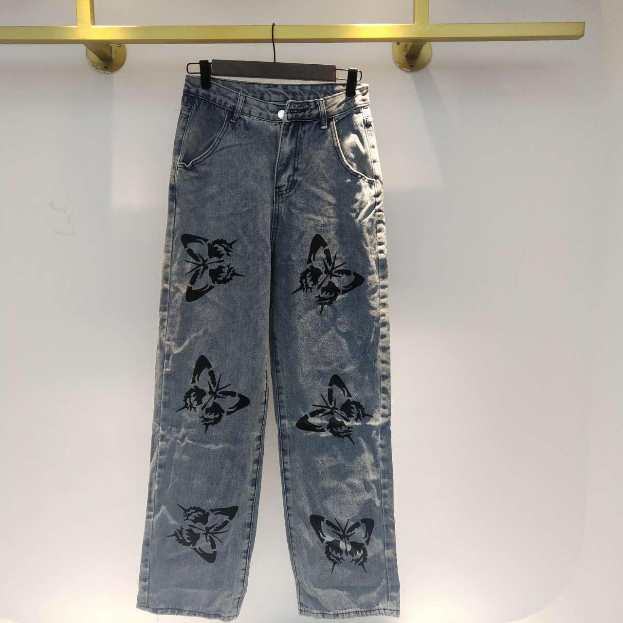 SHENGPALAE 2021 New Summer Vintage Jeans Woman Long Trousers Cowboy Female Loose Streetwear Butterfly Print Pants ZA4110 5