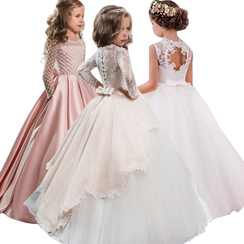 2019 Christmas Dress Long Sleeve Bridesmaid Wedding Gown Kids Dresses For Girls Elegant Party Princess Dress Children Clothing image