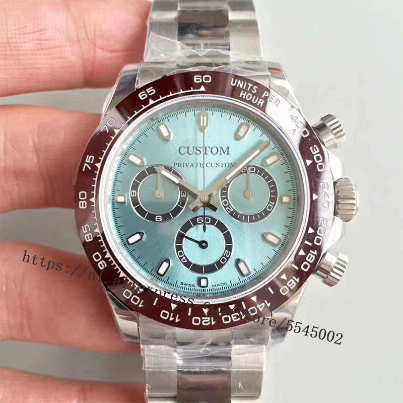 40mm Men's Watch Sapphire Glass Luxury Brand Automatic Stainless Steel Case Waterproof Black Dial Watch Men's