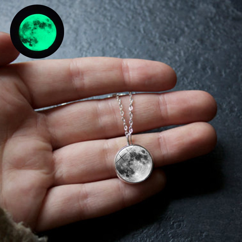 Glow In The Dark Moon Necklace 14mm Galaxy Planet Glass Cabochon Pendant Necklace  Chain Luminous Jewelry Women Gifts