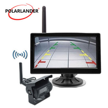 12 24V Car Truck 5 inch TFT LCD Wireless Monitor + camera Transmitter for Car Rear View Camera Parking KIT 2CH Video Input