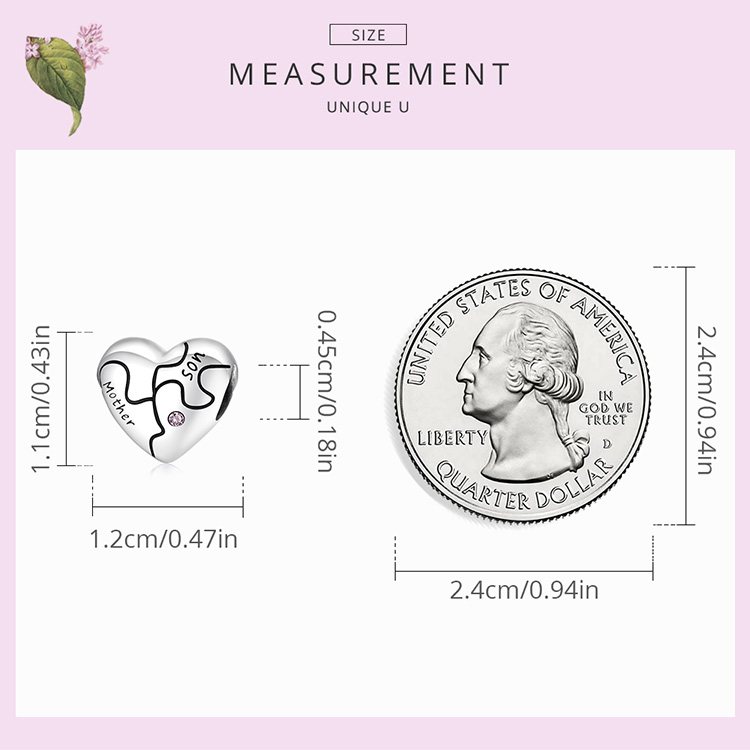 size Genuine 925 Sterling Silver Heart-Shaped Charm with Love Jigsaw Fit Women Bracelet & Bangle Fine Jewelry Family Gift
