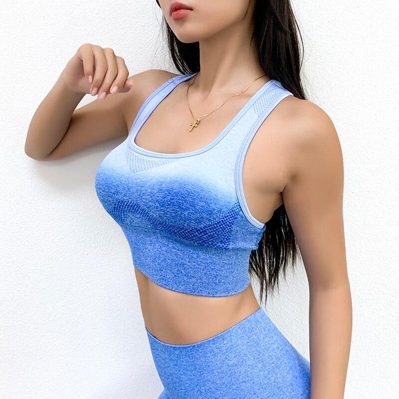 Ombre Women's Sports Bra Gradient Push Up Yoga Sport9s