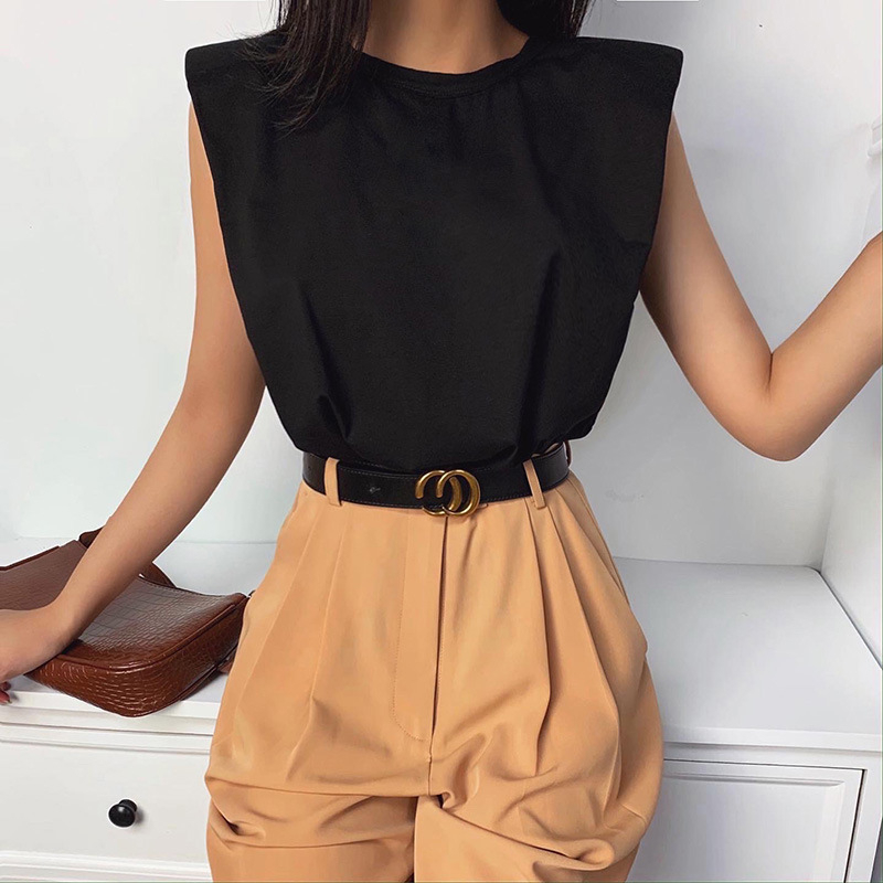 Summer Sleeveless Top Female O Neck White Women Blouse Shirt Ladies Loose Solid Chic Casual Blouses Cotton Shoulder Pad Shirt