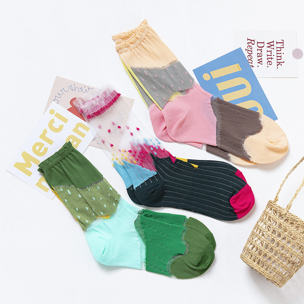 3 Pairs Women Socks Summer Colorful Female Socks Flower Fruit Thin Socks 35-40EUR