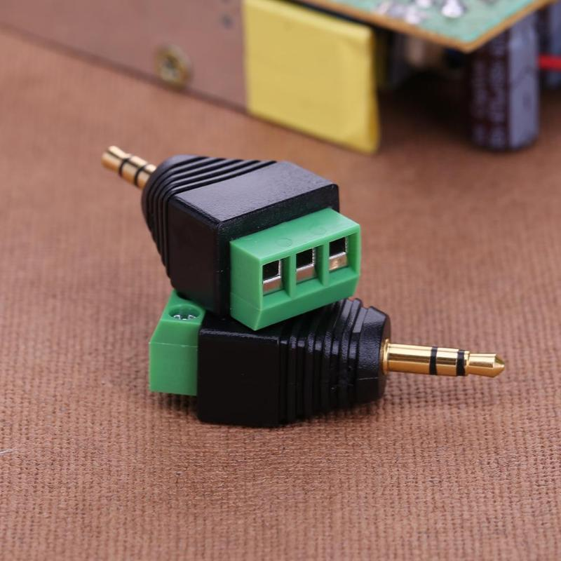 2pcs 3.5mm To Dual Channel Terminal Audio Male Plug Connectors Adapters