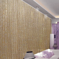 3 x 2.9m String Curtain Flash Line Shiny Tassel Strings Door Window Decorective Divider Curtain Glitter Valance Home Decoration