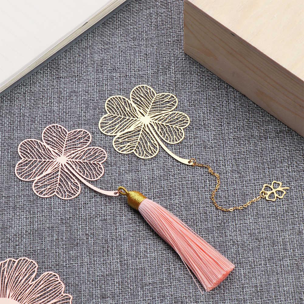 Chinesischen Stil Blatt Retro Buch Marker Kupfer Metall Quaste Lesezeichen Buch Halter Schreibwaren Liefert