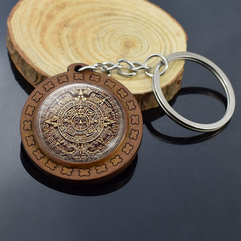 Vintage Wood Jewelry Aztec Calendar Keychains Mexican Jewelry Engraved Wooden Keychain Keyring Mayan Calendar Pendant
