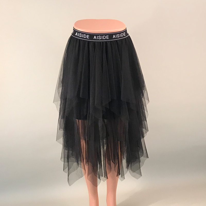 Tulle Skirts Womens Faldas Mujer Moda 19 Fashion Elastic High Waist Mesh Tutu Maxi Pleated Long Midi Saias Jupe Women's Skirt 5