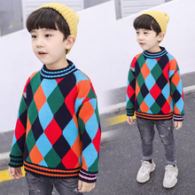 2019 New O Neck Collar Boys Sweaters Baby Rainbow Plaid Pullover Knit Kids Clothes Autumn Winter Children Sweaters Boy Clothing boys and girls cartoon sweaters 2017 autumn winter new children knitting clothes baby casual cotton knit wear pullover tops 3 8y