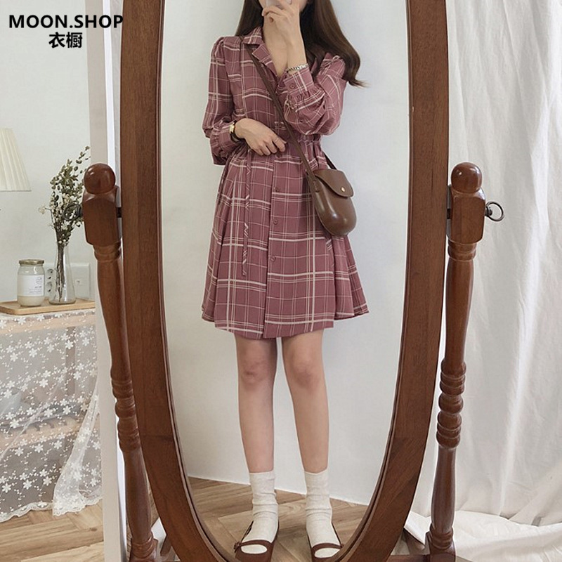South Korea New Style Spring And Autumn CHIC Hong Kong Flavor Retro Plaid Shirt Dress French Non-mainstream GIRL'S Tea Break Win