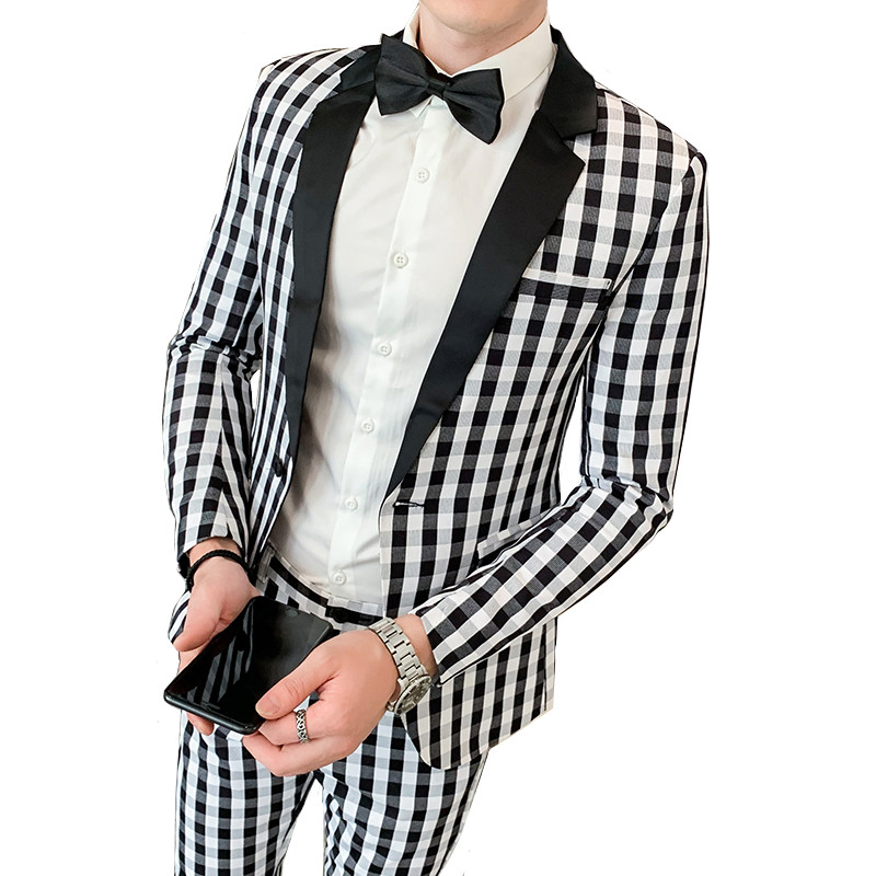 Spring New Black And White Plaid Slim Suit Two-piece Men's Fashion British Style Jacket With Pants Fashion Banquet Blazer