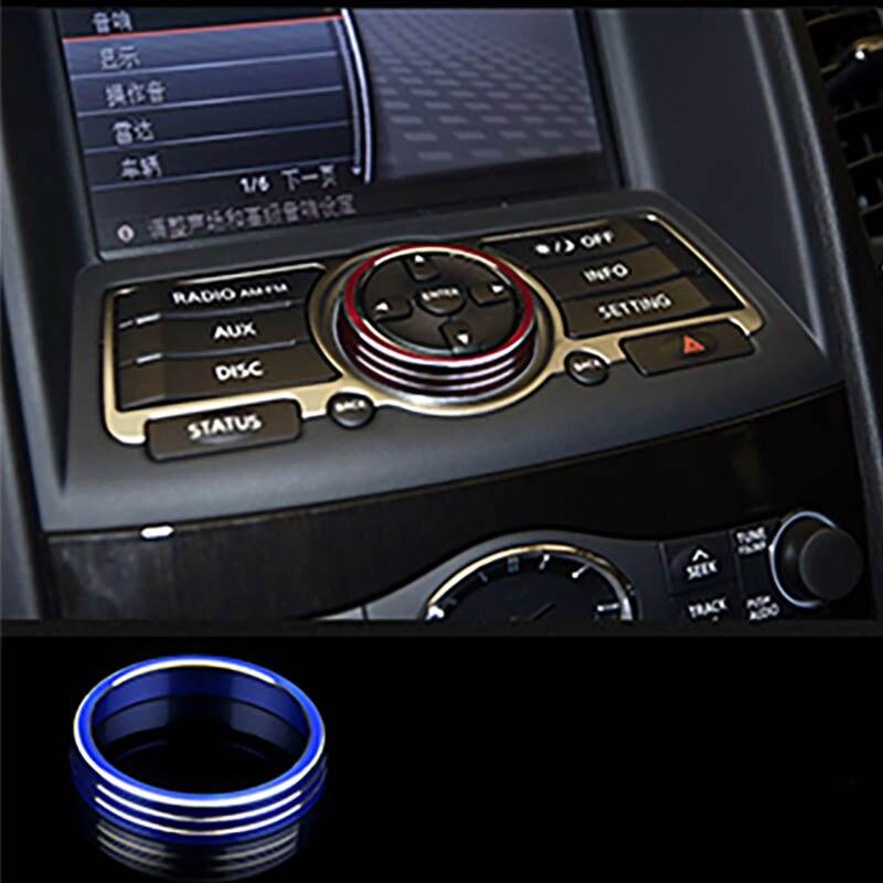 GPS Volume Button Console Air Condition Knob Decorate Cover Interior Accessories Sticker For Infiniti QX50 Q70 FX E25 EX35