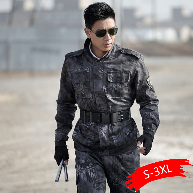 Military Uniform Black Hawk Python Uniforme Military Tactical Combat Jacket Cargo Pants Suit CS Fardas Militar Army Clothing Men