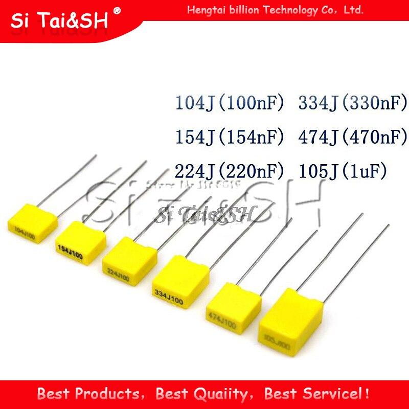 100pcs de Segurança em Polipropileno Filme Plástico 100V 1nF ~ 470nF 1nf 0.47uf 22nf 47nf 0.1uf 10nf 100nf 220nf capacitor De Correção