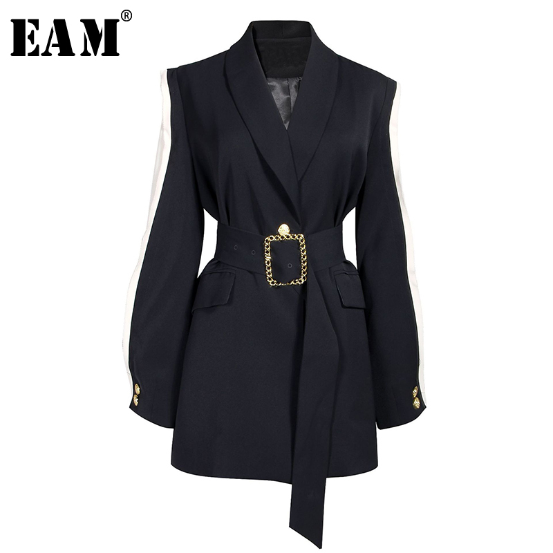 [EAM] Loose Fit Black Spliced Hit Color Belt Jacket New Lapel Long Sleeve Women Coat Fashion Tide Spring Autumn 2020 1A879