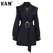 [EAM] Loose Fit שחור איחה Hit צבע חגורת מעיל חדש דש ארוך שרוול נשים מעיל אופנה גאות באביב סתיו 2020 1A879