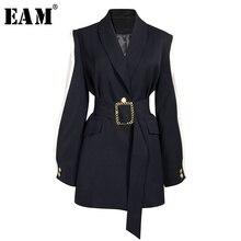 [EAM] معطف نسائي فضفاض بلون أسود مزين بحزام ذو أكمام طويلة وطية صدر جديدة معطف نسائي مواكب للموضة لفصل الربيع والخريف 2020 1A879