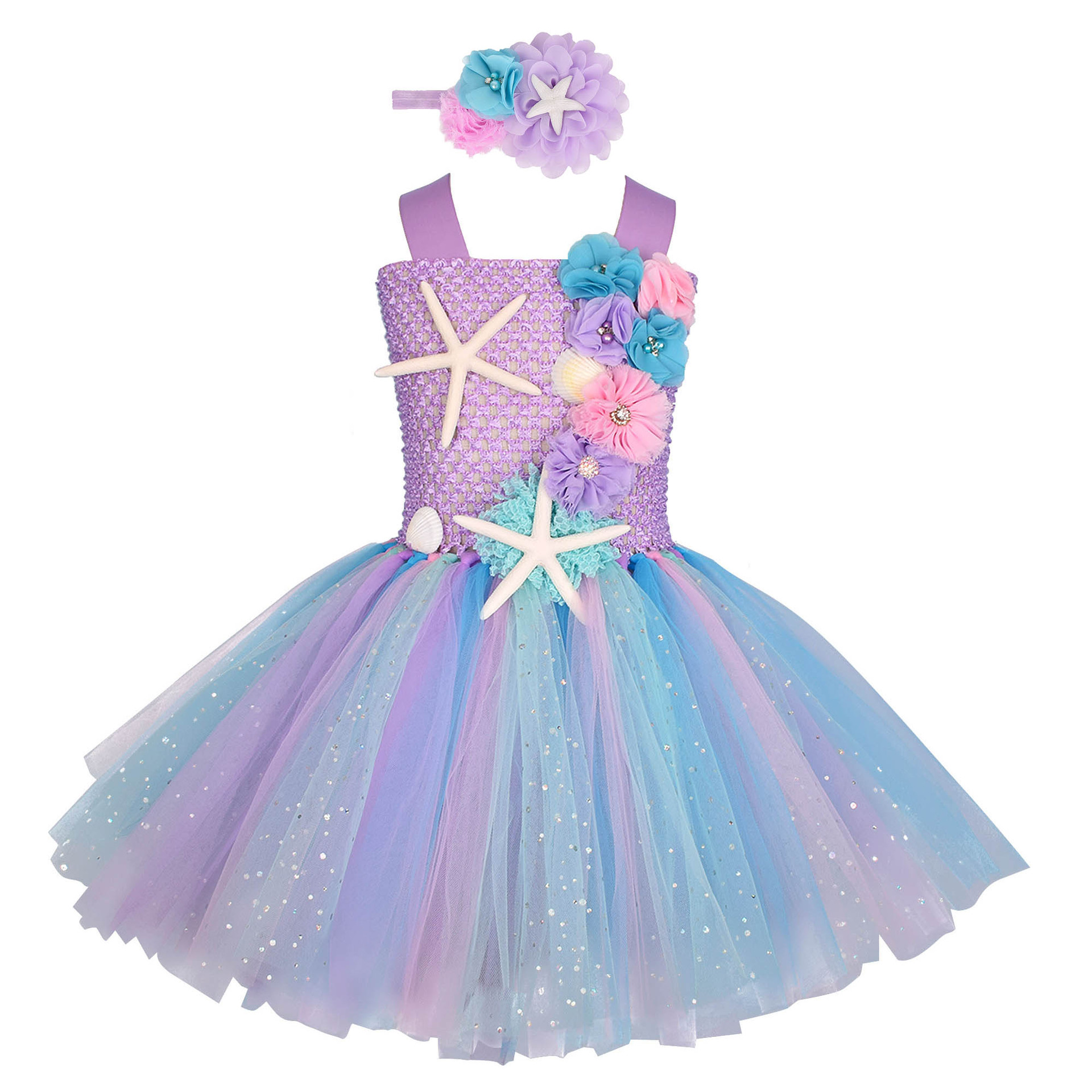 Girls Pastel Mermaid Tutu Dress Under the Sea Theme Birthday Party Costume with Flower Headband Ocean Flower Dresses 1-12Y 1