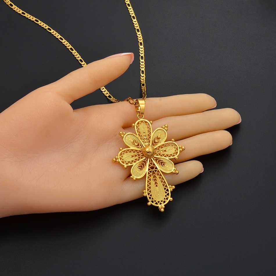 Anniyo Ethiopian Cross Liontin Kalung Rantai untuk Wanita, Warna Emas Eritrea Perhiasan Afrika Melintasi #216806