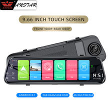 "Anstar 9.66 ""4G Mobil DVR Android 8.1 Kaca Spion 1080P Video Perekam Wifi Adas GPS Auto Pencatat dash Cam(China)"