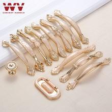 WV manija Europea cajón armario Wupboard oro amarillo ámbar Jade tira manija de la puerta del armario americano manija de lujo 636
