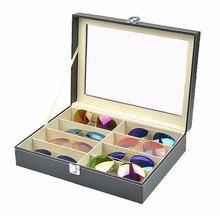 Design prático 8 grades caso de armazenamento de óculos de sol luxo couro plutônio das mulheres dos homens óculos de sol loja expositor caixa dropshipping