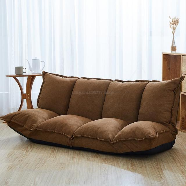 Linen Fabric Upholstery Adjustable Floor Sofa Bed Lounge Sofa Bed Floor Lazy Man Couch Living Room Furniture Video Gaming Sofa 1