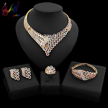 Yulaili Trendy Unique Design Bridal Gold-color Crystal Rhinestones Necklace Earrings Bracelet Ring Nigeria Wedding Jewelry Sets
