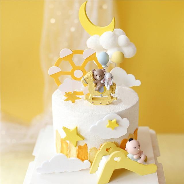 Décoration de gâteau en forme de lapin cheval | Ours étoile, décoration pour mariage fête danniversaire, fournitures de pâtisserie pour enfant, cadeaux de fête pour bébé