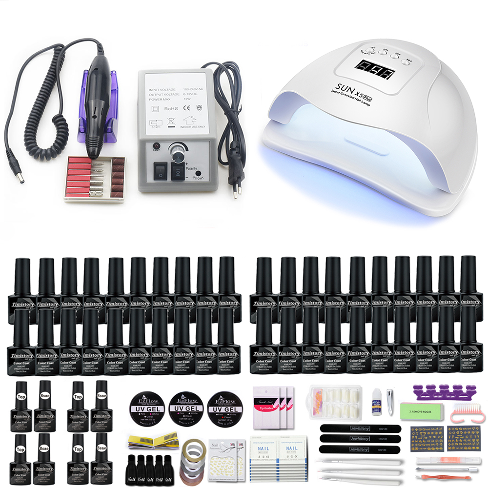 40/30/20/10 Colors Manicure Nail Set With Nail lamp Nail drill machine For Manicure Pedicure Set  tool for nail kit