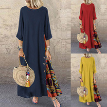 Women Dress Casual Patchwork 3/4 Sleeves O-Neck Button High Low Hem Plus Size Dress недорого